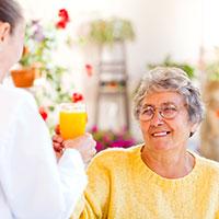 Nursing home serving juice