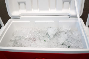 Ice in a cooler