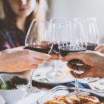Red wine toasting