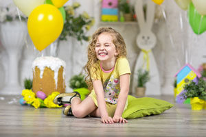 Easter decorations and balloons